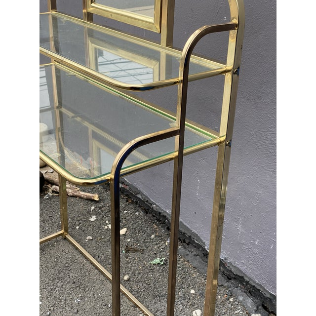 Offered is a Mid Century Brass Vanity Desk and Chair. A beautiful piece that will add sparkle to your boudoir!