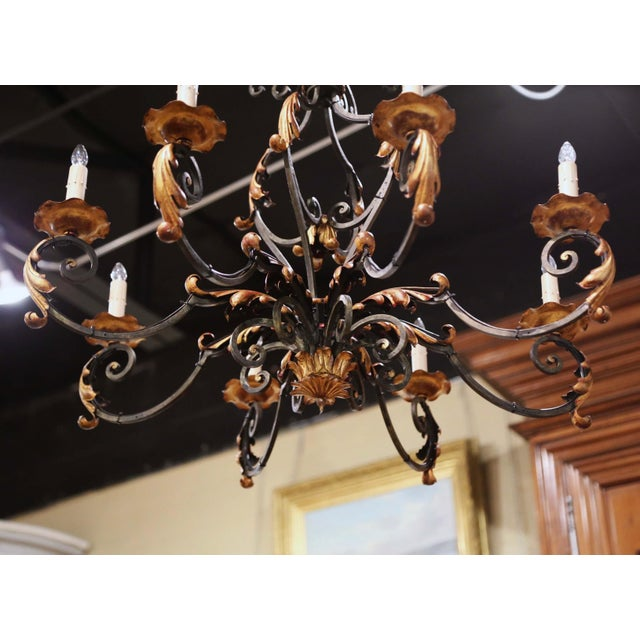 Gold Early 20th Century French Louis XV Painted & Gilt Six-Light Iron Chandelier For Sale - Image 8 of 12