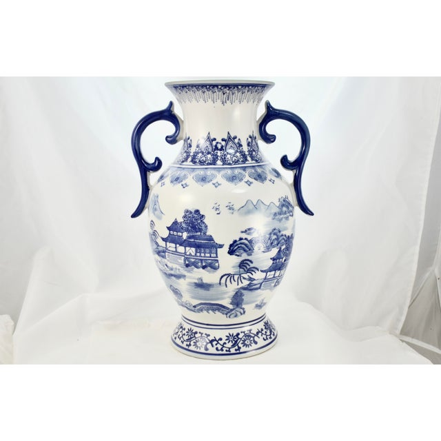 Ceramic Chinoiserie Blue & White Urn For Sale - Image 7 of 7