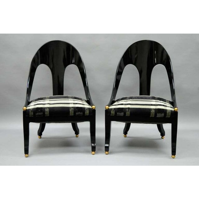 1960s Vintage Michael Taylor Baker Black Lacquer & Gold Spoon Back Slipper Lounge Chairs- A Pair For Sale - Image 10 of 10