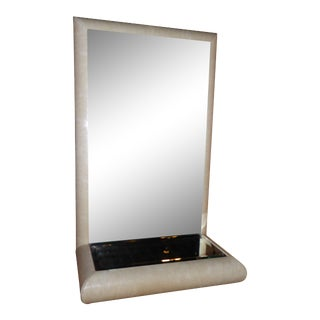 1970's Jaru Faux Lizard Springer Style Mirror Console For Sale