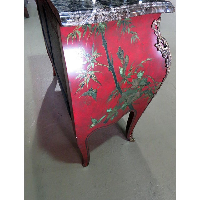 Marble Top Green Paint Decorated Bombe Red Commode For Sale - Image 10 of 11