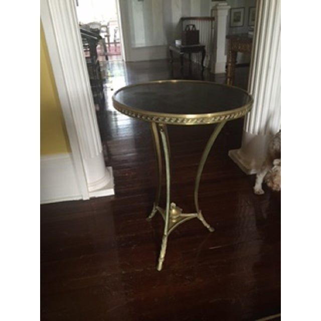 Brass & Marble Gueridon Side Table - Image 2 of 6