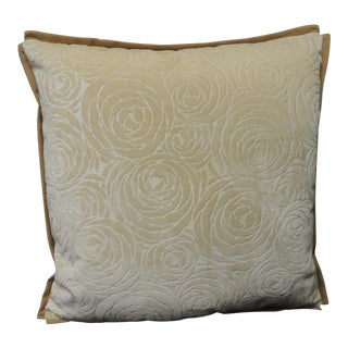 Antique Tone-On-Tone Silk Cut Velvet Deco Floral Petite Decorative Pillow For Sale