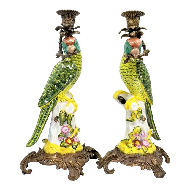 Large Parrot Candlesticks Candle Holders a - Pair - Vintage Porcelain Chinese Ceramic Birds - Tropical Coastal Mid Century Modern Boho Chic Palm Beach For Sale