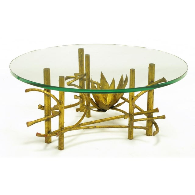 Brutalist Brutalist Gilt Iron Lotus Coffee Table For Sale - Image 3 of 8