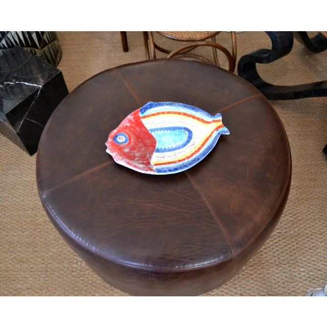 Mid-Century Modern Italian Giovanni Desimone Hand Painted Pottery, Fish Platter, Serving Plate For Sale - Image 3 of 12
