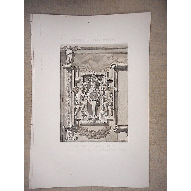 French Large Antique Architectural Engraving-Palais de Fontainebleau-Architectural Details For Sale - Image 3 of 3