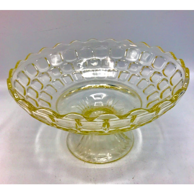Americana 1940s Federal Glass Topaz Honeycomb Pedestal Centerpiece Bowl For Sale - Image 3 of 7