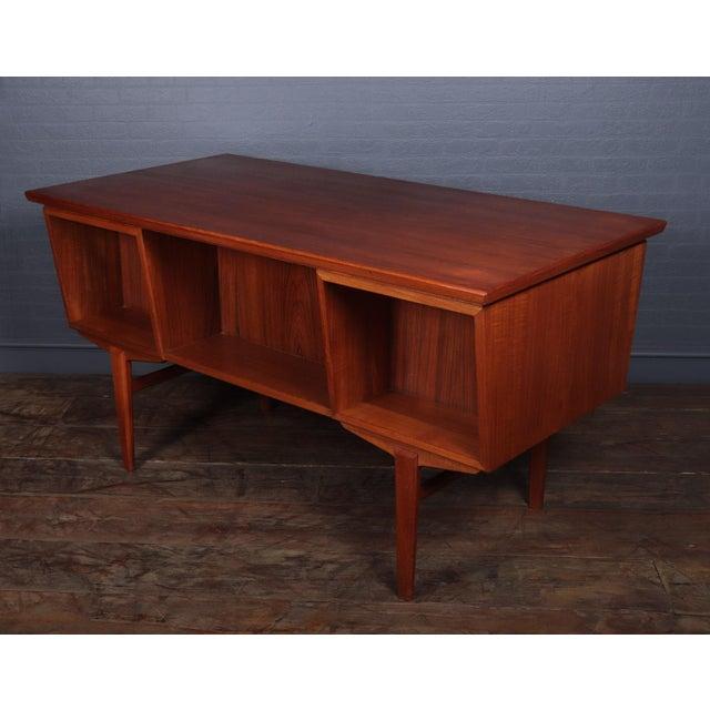 Wood Danish Mid Century Modern Teak Desk For Sale - Image 7 of 13