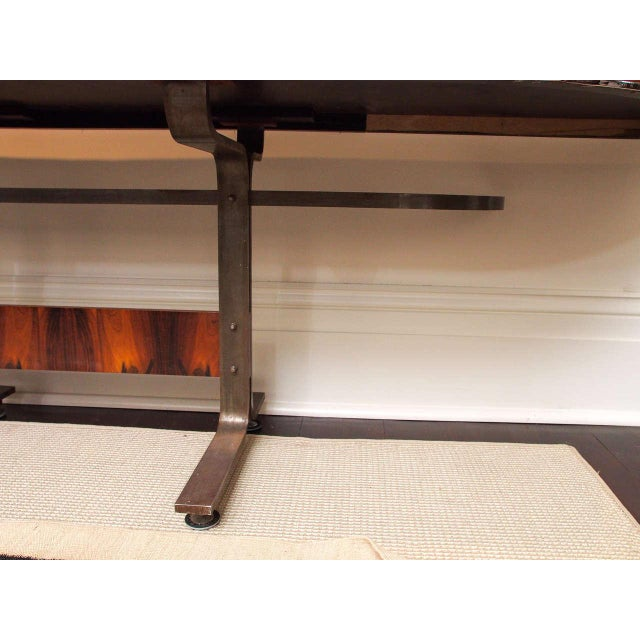 Rosewood & Steel Console For Sale - Image 10 of 11