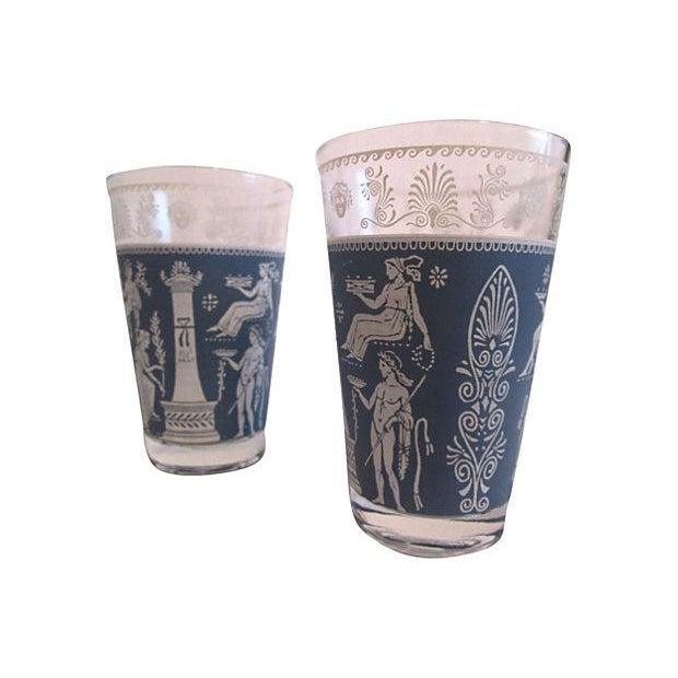 Midcentury Grecian Ice Bucket & Glasses - Set of 4 - Image 5 of 6