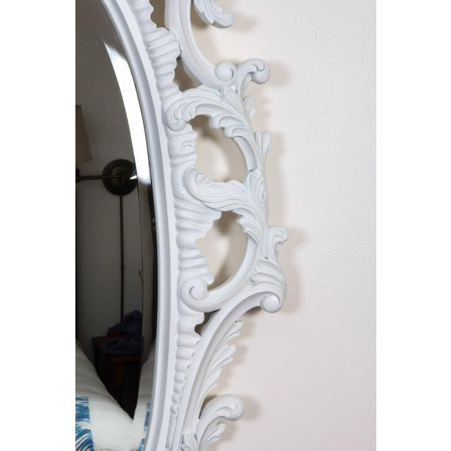 Acrylic Large Chinese Chippendale Style Oval Painted Mirror For Sale - Image 7 of 9