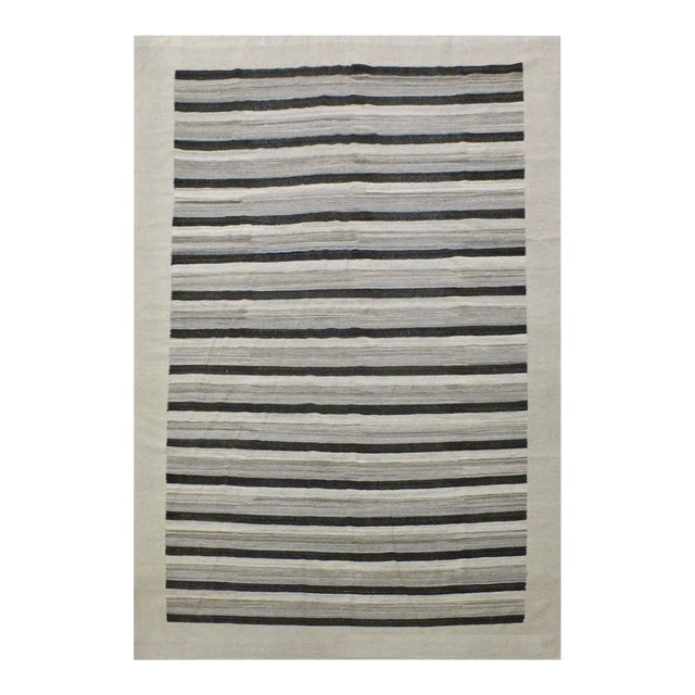 Contemporary Striped Afghan Kilim Rug - 9'9'' x 13'5'' For Sale