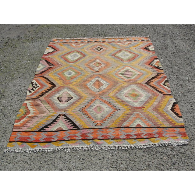 Vintage Turkish Kilim Rug - 5′5″ × 7′10 For Sale - Image 11 of 11
