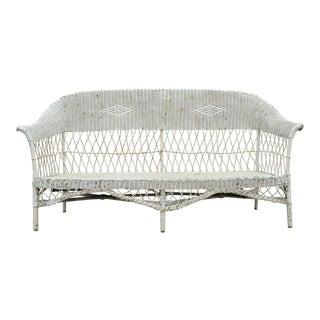 Early 20th Century Antique Victorian Wicker Rattan Sunroom Patio Furniture Sofa For Sale