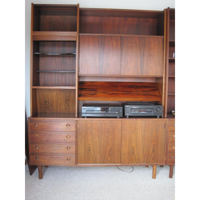 Danish Modern Rosewood Shelving Unit With Bar - Image 3 of 9