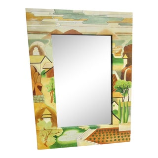 Southwestern Motif Hand Painted Leather Framed Wall Mirror For Sale
