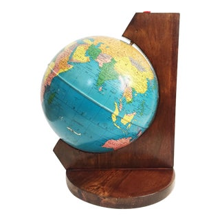 Antique Tin Replogle World Globe on Wood Stand For Sale