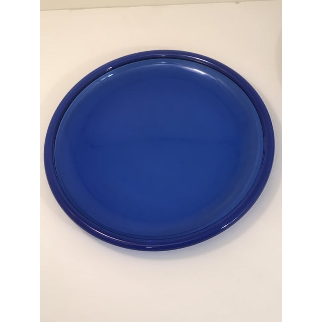 1980s Vintage Crystal D' Arques Cobalt Blue Glass Plates - Set of 5 For Sale - Image 5 of 6