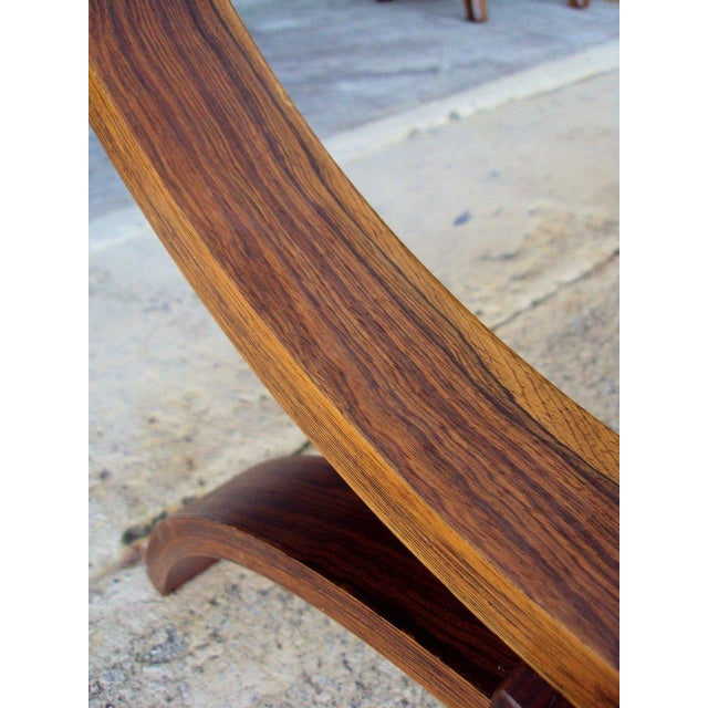 Vintage Modern Curved Jacaranda and Glass Coffee Table For Sale In Atlanta - Image 6 of 8