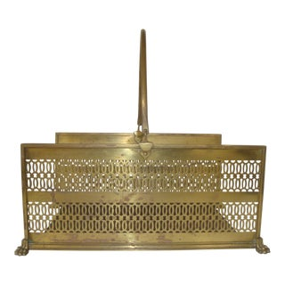 Brass Filagree Magazine Rack or Fireplace Log Basket Paw Feet For Sale