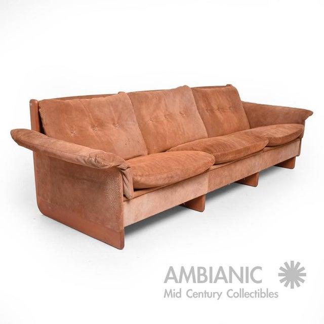 Danish Modern Suede & Teak Sofa For Sale In San Diego - Image 6 of 8