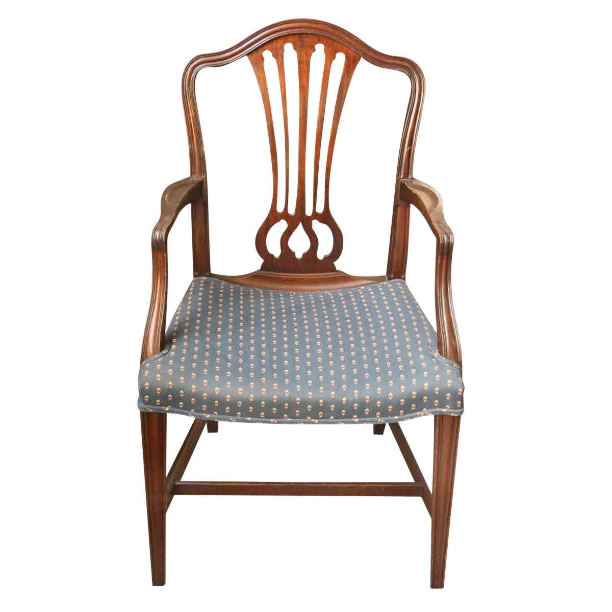 Early 20th century vintage wood frame blue upholstered chair chairish