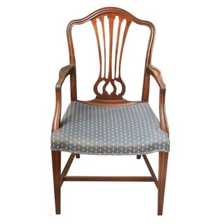 Early 20th Century Vintage Wood Frame Blue Upholstered Chair For Sale