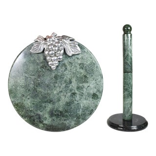 Vintage Green Marble With Aluminum Grape Cheese Platter Cutting Board and Paper Towel Holder Set - a Pair For Sale