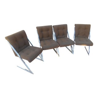 Milo Baughman Style Z Suede Leather Dining Chairs - Set of 4 For Sale