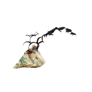 Curtis Jeré Sculpture on Quartz Birds in Flight Kinetic Sculpture For Sale