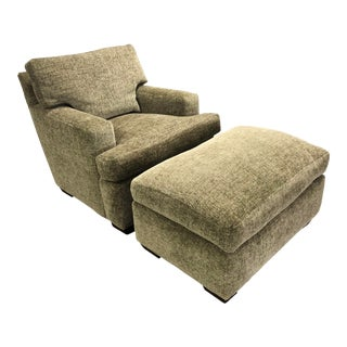 Contemporary A. Rudin Plush Green Chair + Ottoman - 2 Pieces