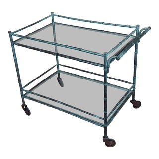 1930s Faux Bamboo Patinated Bronze Serving Bar Cart Trolley For Sale
