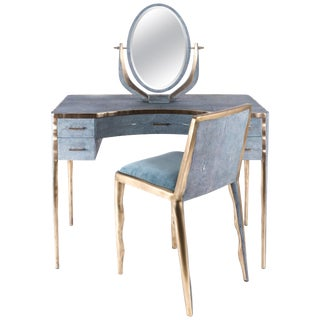 Melting Vanity Table in Blue Shagreen and Bronze-Patina Brass by R & Y Augousti For Sale