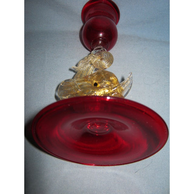 Vintage Venetian Ruby Hand Blown Dolphin Candlestick For Sale - Image 4 of 6