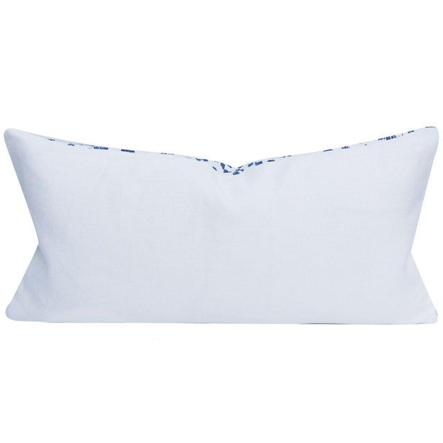 Brunschwig & Fils Les Touches Embroidered Canton Blue Lumbar Pillow Cover For Sale - Image 4 of 7