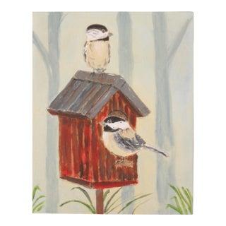 Chickadees at Home Original Painting