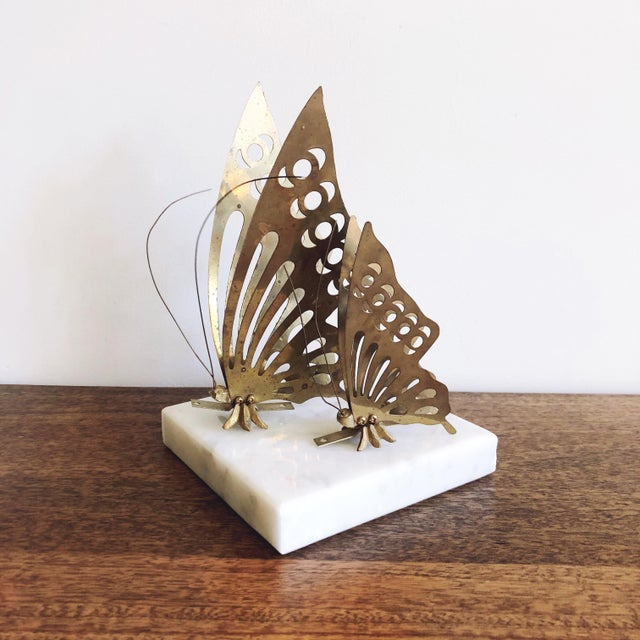 Vintage Brass Butterfly Wall Mounts - a Pair For Sale In Austin - Image 6 of 6