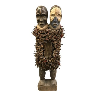 1970s Vintage African Bacongo Double Head Nkisi Sculpture For Sale