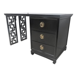 James Mont Style Black Lacquered Desk For Sale