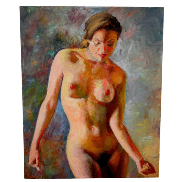Nude Oil Painting on Canvas Signed Mautner For Sale