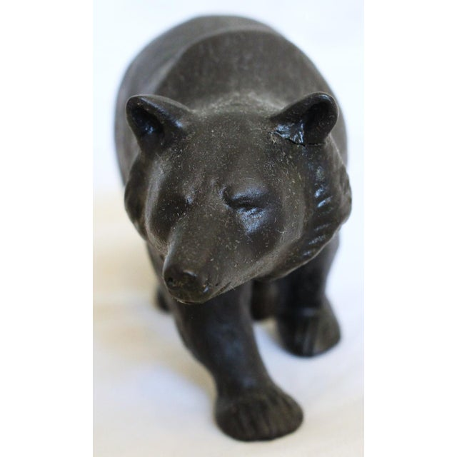 """This is an antique Wedgwood basalt wandering bear, design of Ernest W. Light, c. 1913. The piece is marked """"WEDGWOOD""""..."""