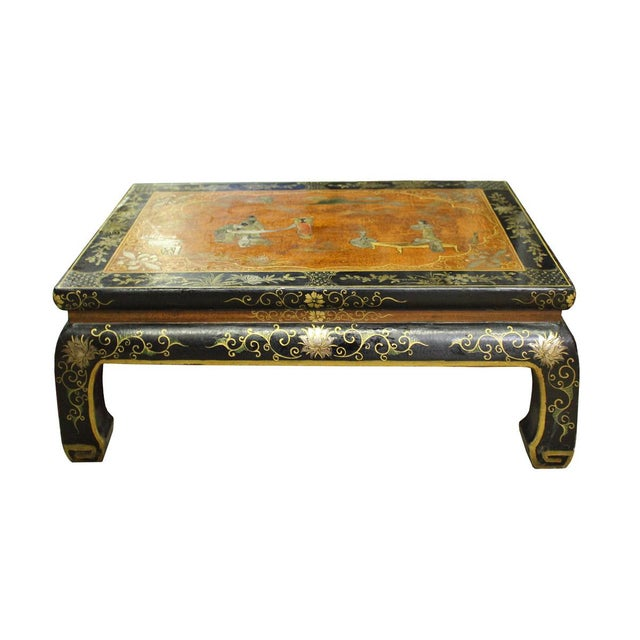 Arts & Crafts Chinese Brown Black Lacquer Scenery Kang Table Stand For Sale - Image 3 of 7
