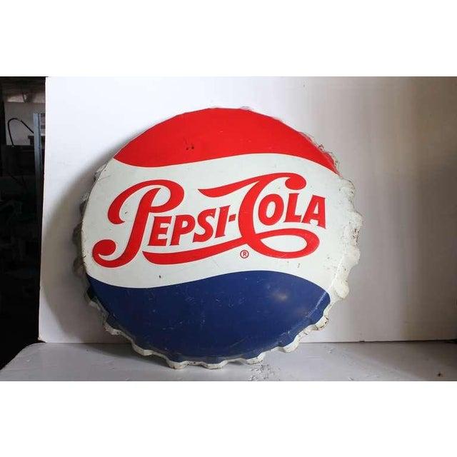 Over sized vintage original metal Pepsi Cola bottle cap sign.