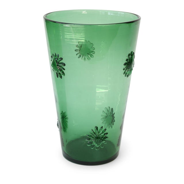Glass Italian Green Glass Vase by Empoli For Sale - Image 7 of 7