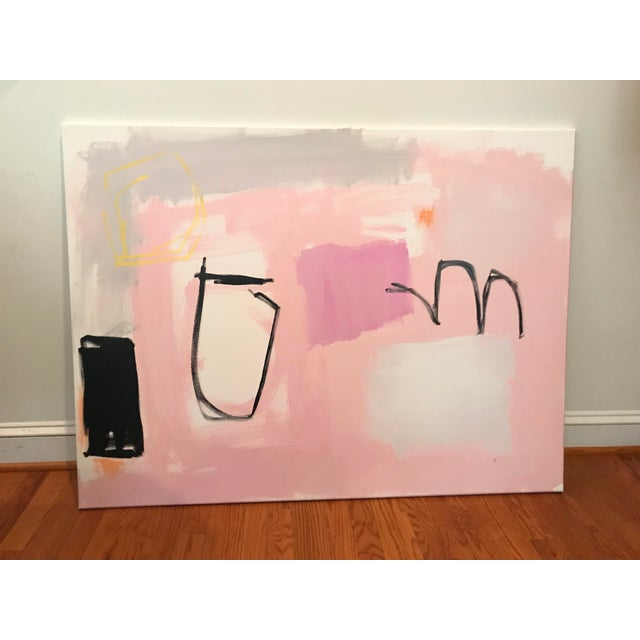 Shapes and gestural markings create a balanced composition, possibly evocative of a deconstructed still-life. Edges...