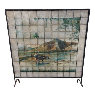 1925 Philippines Asian Hand-Painted Abalone Shell Wrought Iron Frame Fire Screen For Sale