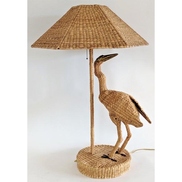 Mario Lopez Torres Mario Lopez Torres 1974 Monumental Egret Wicker Table Lamp For Sale - Image 4 of 13
