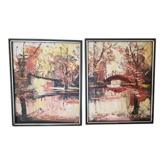 1978 Morris Katz Framed Paintings - A Pair For Sale